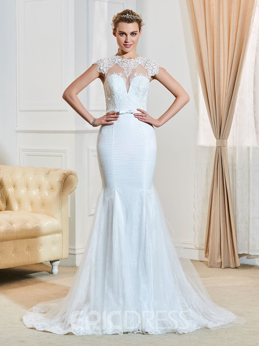 Fancy Jewel Cap Sleeves Appliques Mermaid Wedding Dress