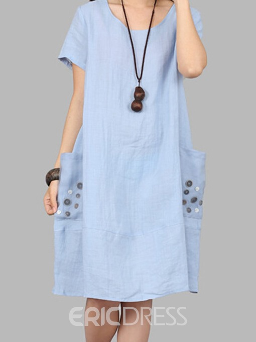 Ericdress Button Patchwork Pocket Loose Casual Dress