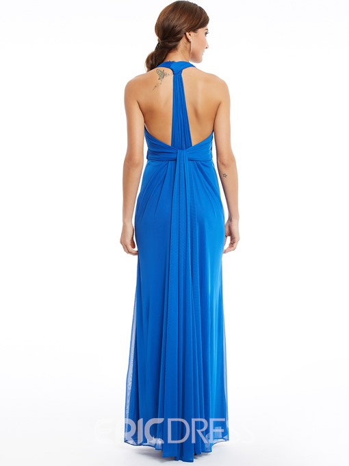 Ericdress Sheath Halter Neck Pleats Sheath Long Evening Dress