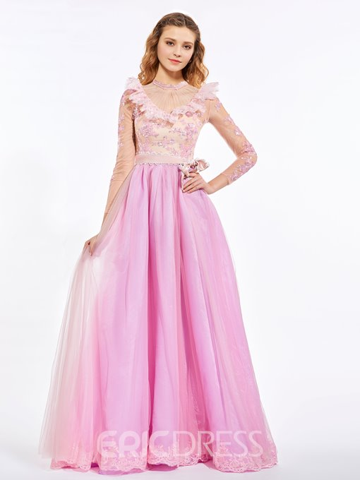 Ericdress Sweet A-Line High Neck Long Sleeves Bowknot Floor-Length Prom Dress
