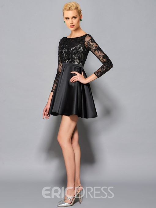 Ericdress Short A Line 3/4 Sleeves Lace Satin Cocktail Dress