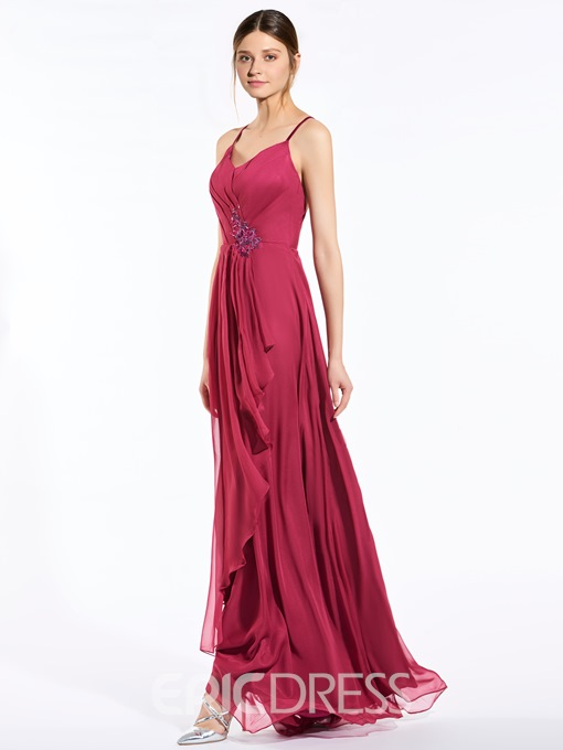 Ericdress Beautiful Spaghetti Straps Appliques A Line Bridesmaid Dress