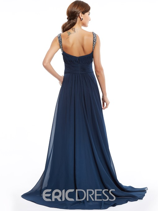 Ericdress Straps Zipper-Up Beaded A Line Evening Dress