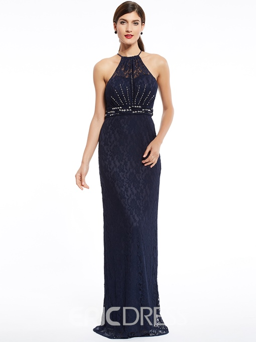 Ericdress Halter Neck Zipper-Up Beaded Lace Sheath Evening Dress