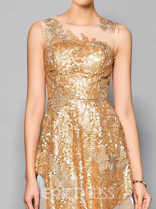 Ericdress Stunning A Line Scoop Neck Sequin Applique Cocktail Dress