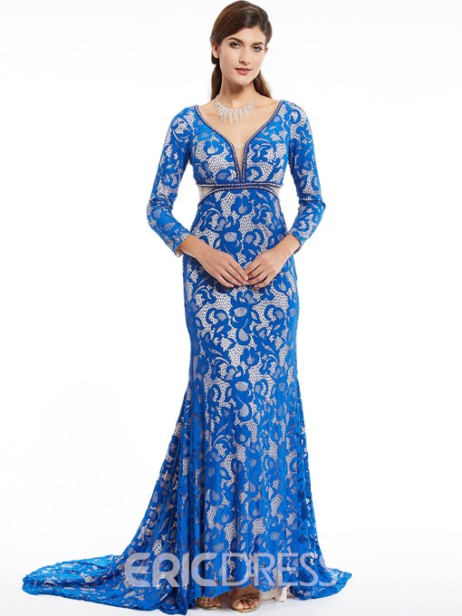 Ericdress Long Sleeves V Neck Lace Mermaid Evening Dress