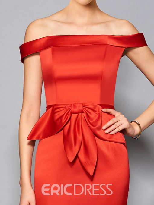 Ericdress Sheath Off The Shoulder Bowknot Front Short Cocktail Dress