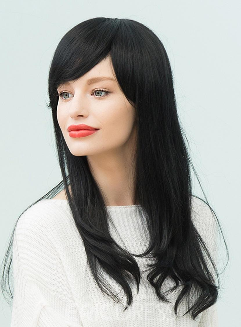 Ericdress Natural Black Long Straight Human Hair With Bangs Capless Cap Wigs 22 Inches