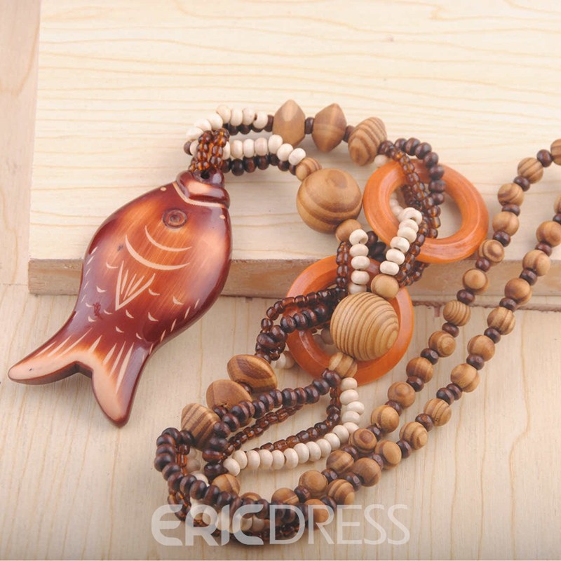 Ericdress Brown Fish Shaped Wooden Beaded Necklace