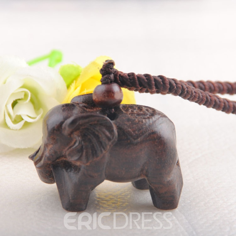 Ericdress Wooden Elephant Pendant Adjustable Rope Necklace