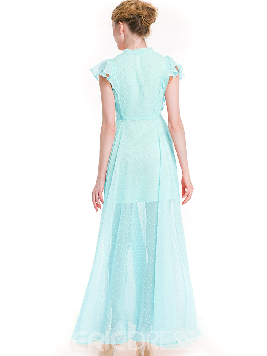 Ericdress Bow Collar Ruffle Sleeve Solid Color Maxi Dress
