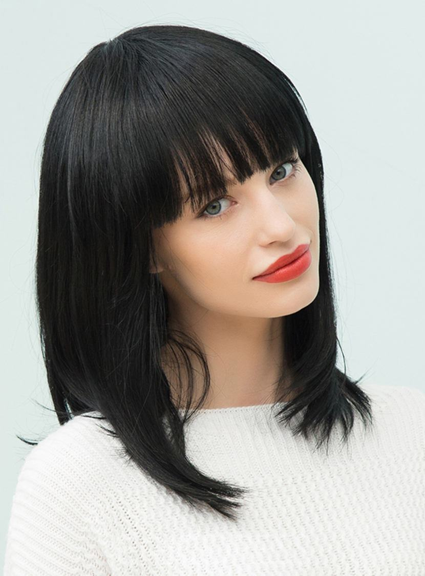 Ericdress Natural Black Straight Medium Human Hair With Full Bangs Capless Cap Wigs 16 Inches