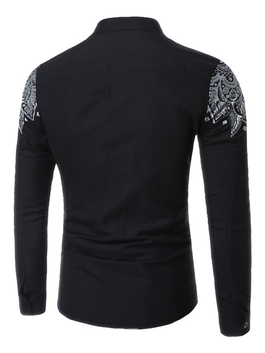Ericdress Ethnic Style Lapel Long Sleeve Print Men's Shirt