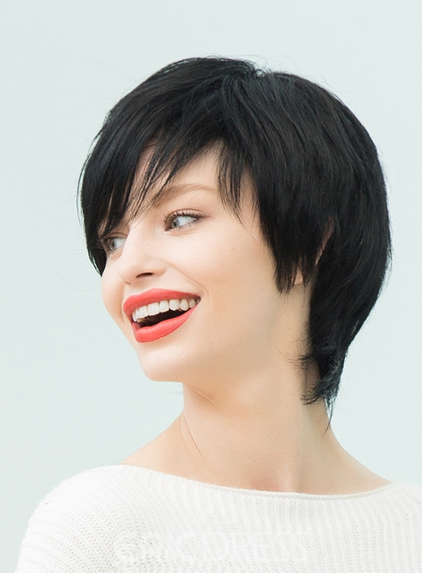 Ericdress Natural Black Layered Short Straight Human Hair With Bangs Capless Cap Wigs 10 Inches
