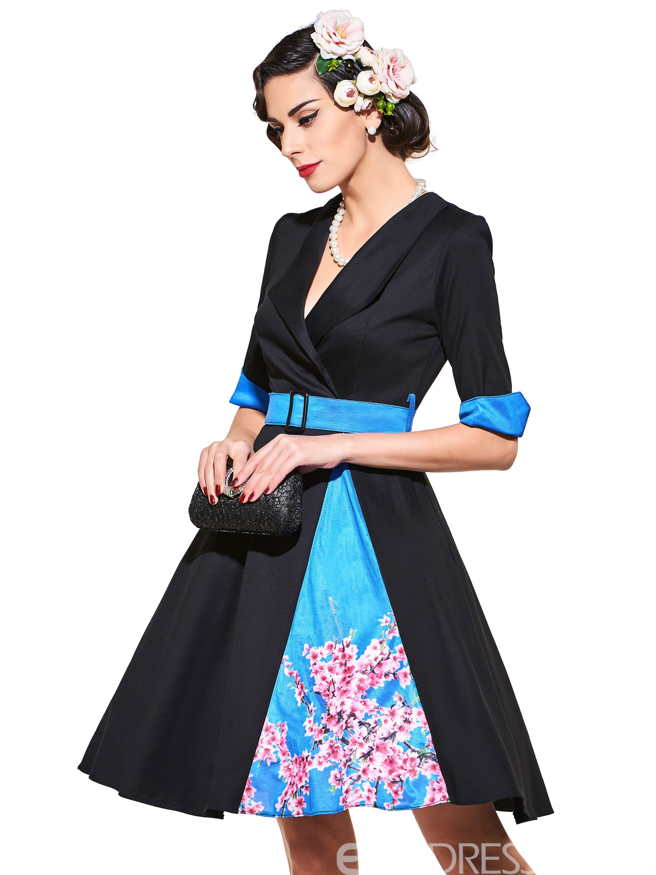 Ericdress V-Neck Long Sleeve Vintage A Line Dress