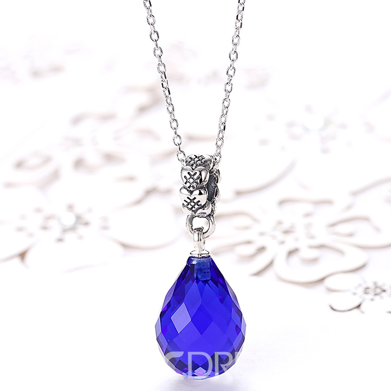 Ericdress Blue Water Drop Pendant 925 Silver Necklace