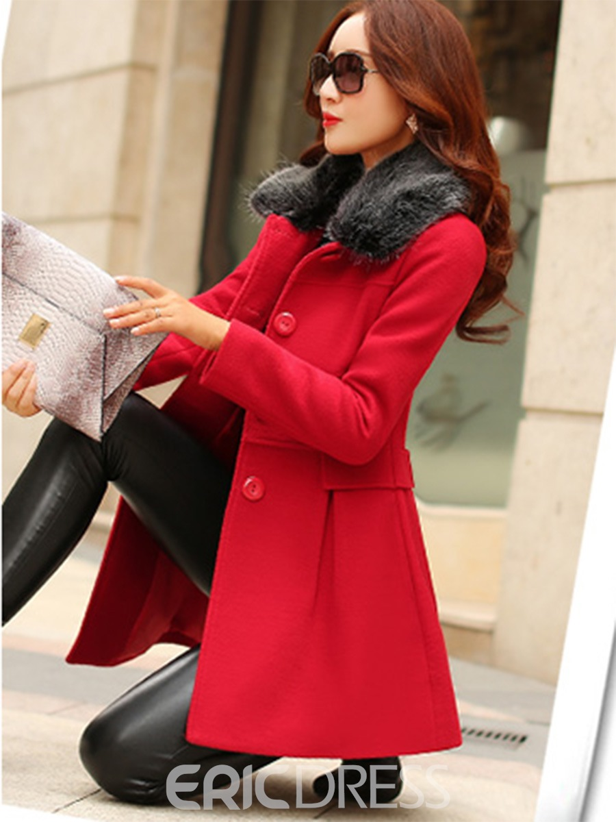 Ericdress Solid Color Single-Breasted Slim Coat
