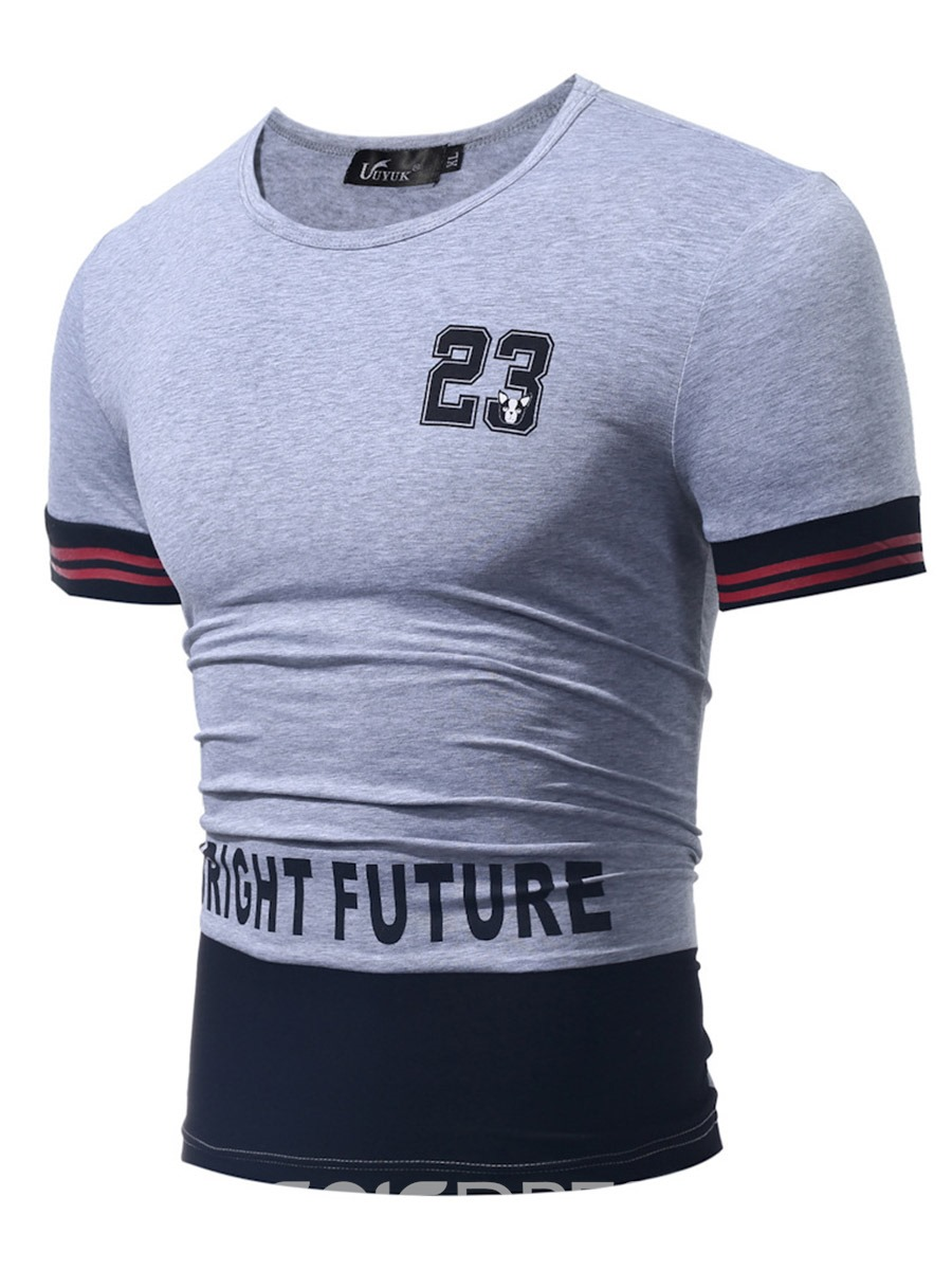 Ericdress Letter Print Short Sleeve Casual Men's T-Shirt