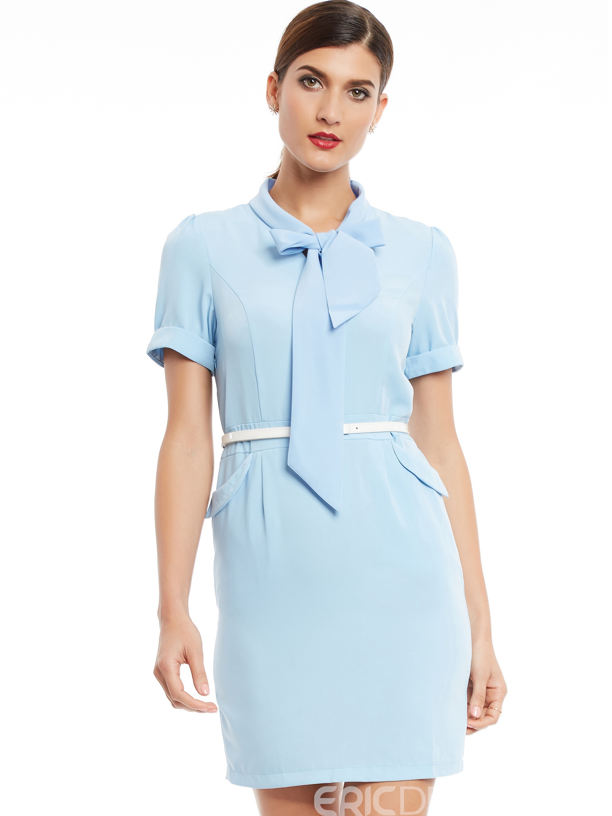 Ericdress Lace-Up Pocket Patchwork Short Sleeve Bodycon Dress