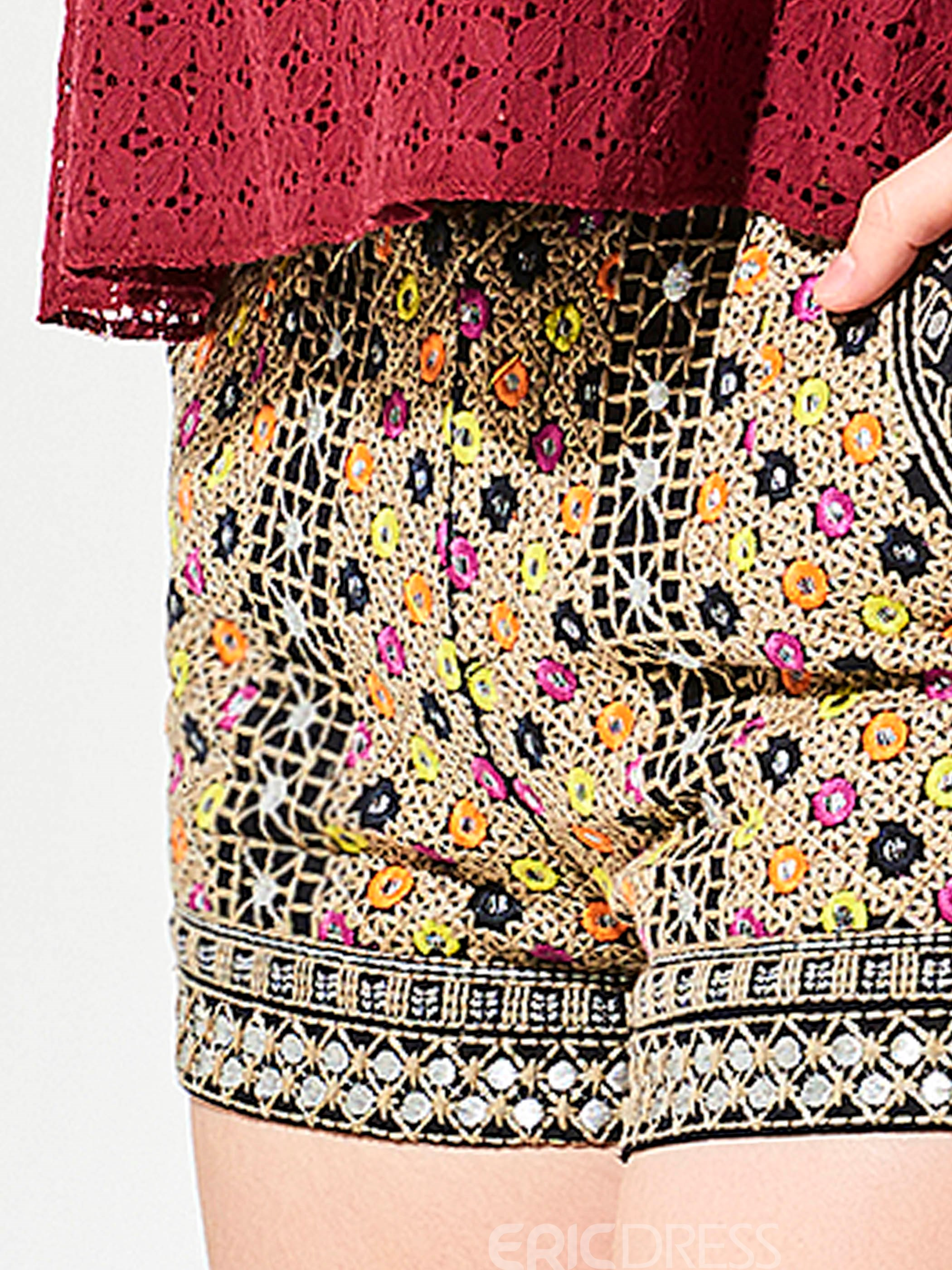 Ericdress Color Block Embroideried Tight Shorts Pants