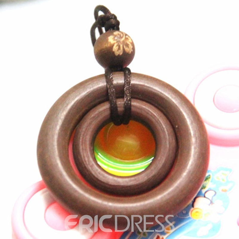 Ericdress Coffee Wooden Double Circle Pendant Necklace