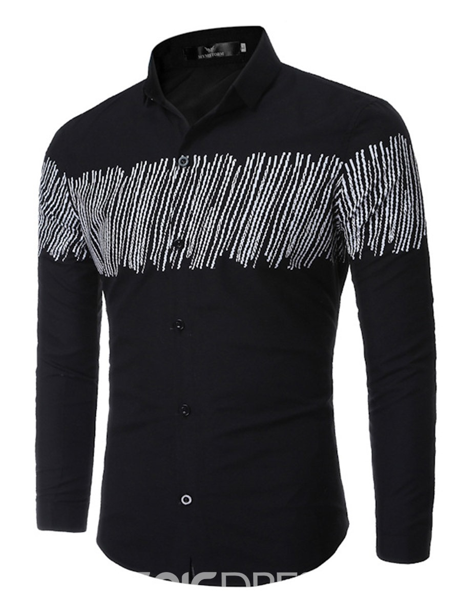 Ericdress Vogue Simple Print Long Sleeve Men's Shirt