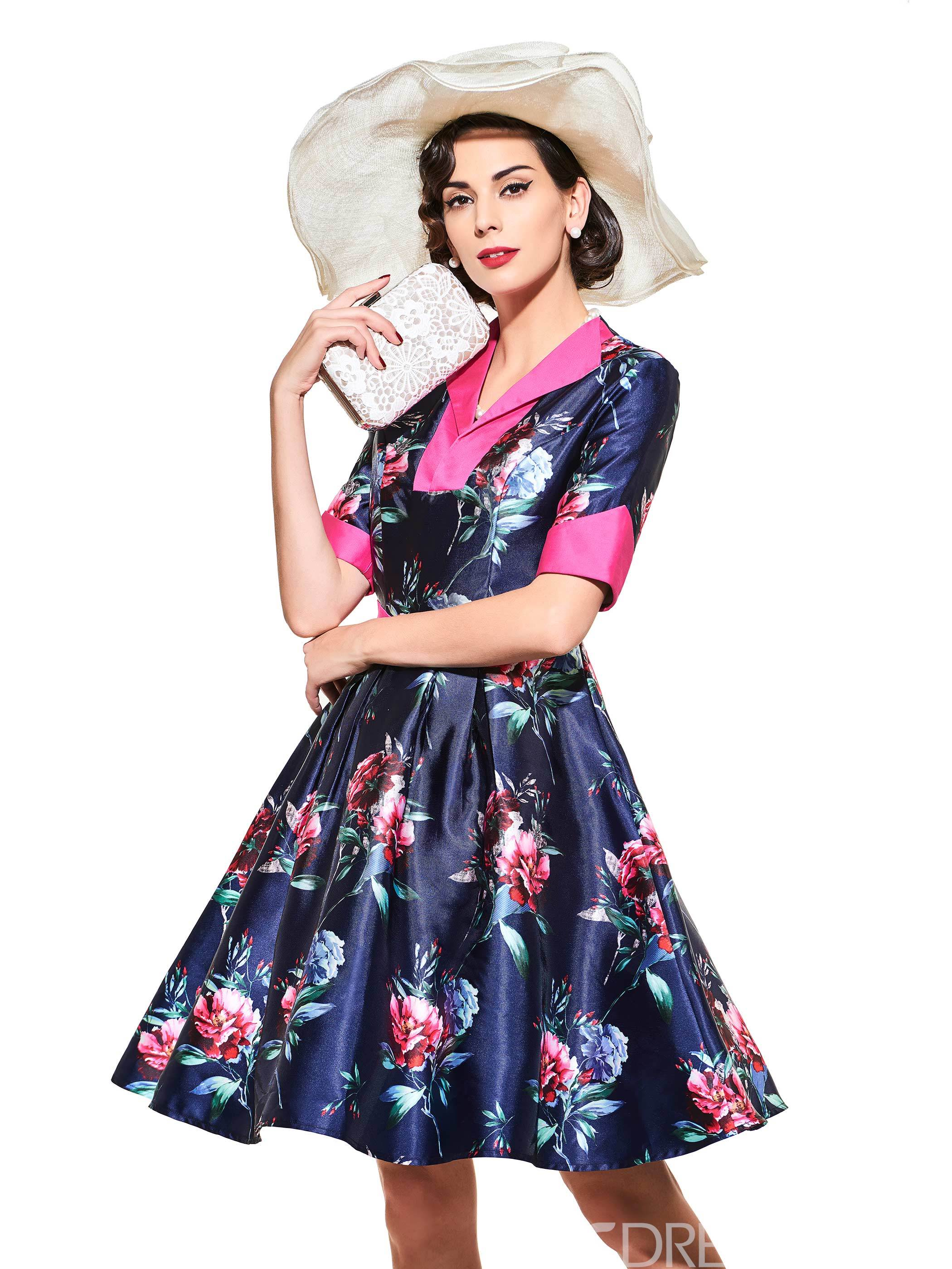Ericdress Vintage Half Sleeve Lapel A-Line Dress