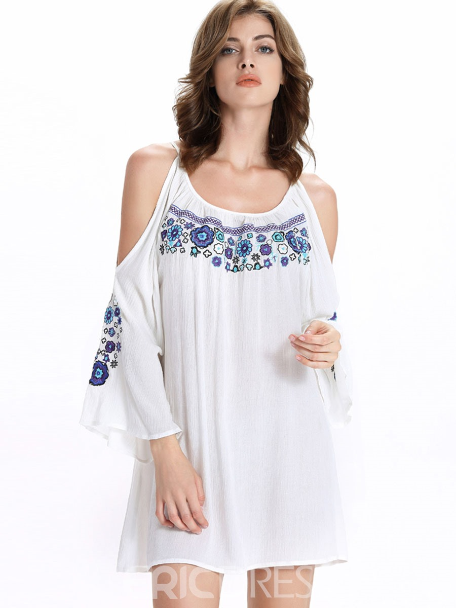 Ericdress Platinum Plated Embroidery Loose Casual Dress