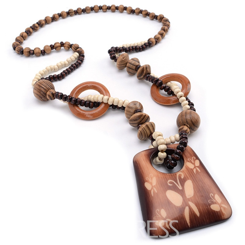 Ericdress Butterfly Pattern Geometry Wooden Pendant Necklace