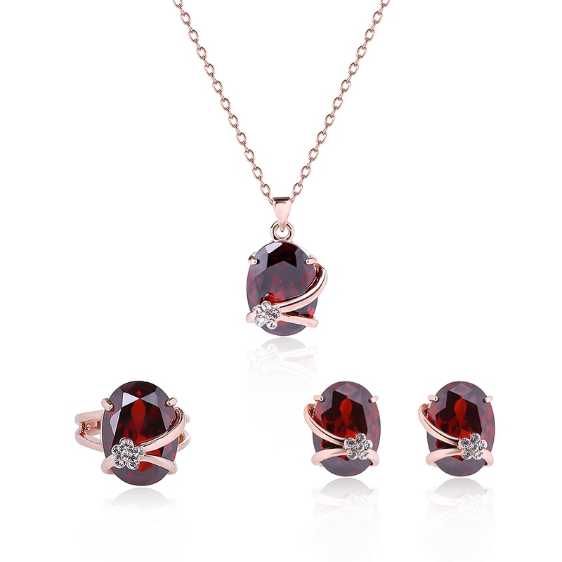 Ericdress Red Oval Rhinestone Inlaid Three-Pieces Jewelry Set