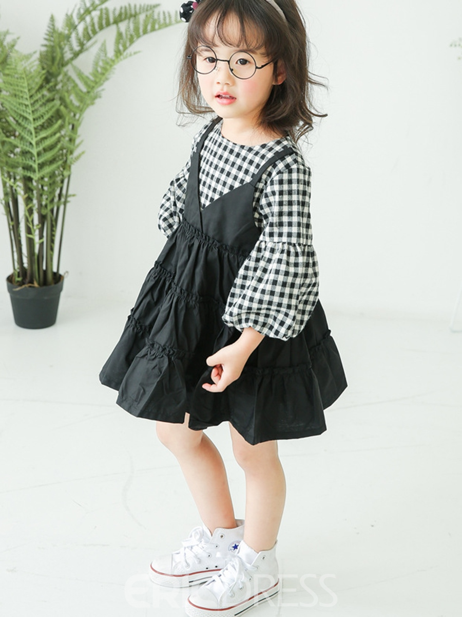 Ericdress Plaid Double-Layer Lantern Sleeve Dress