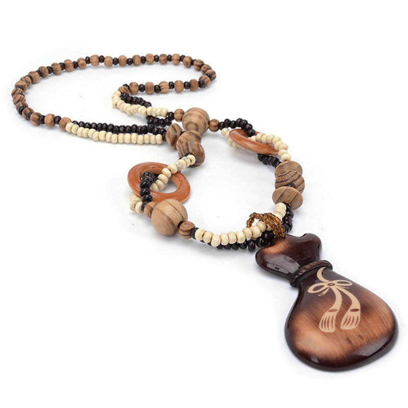 Ericdress Bowknot Carved Gradient Color Wooden Necklace