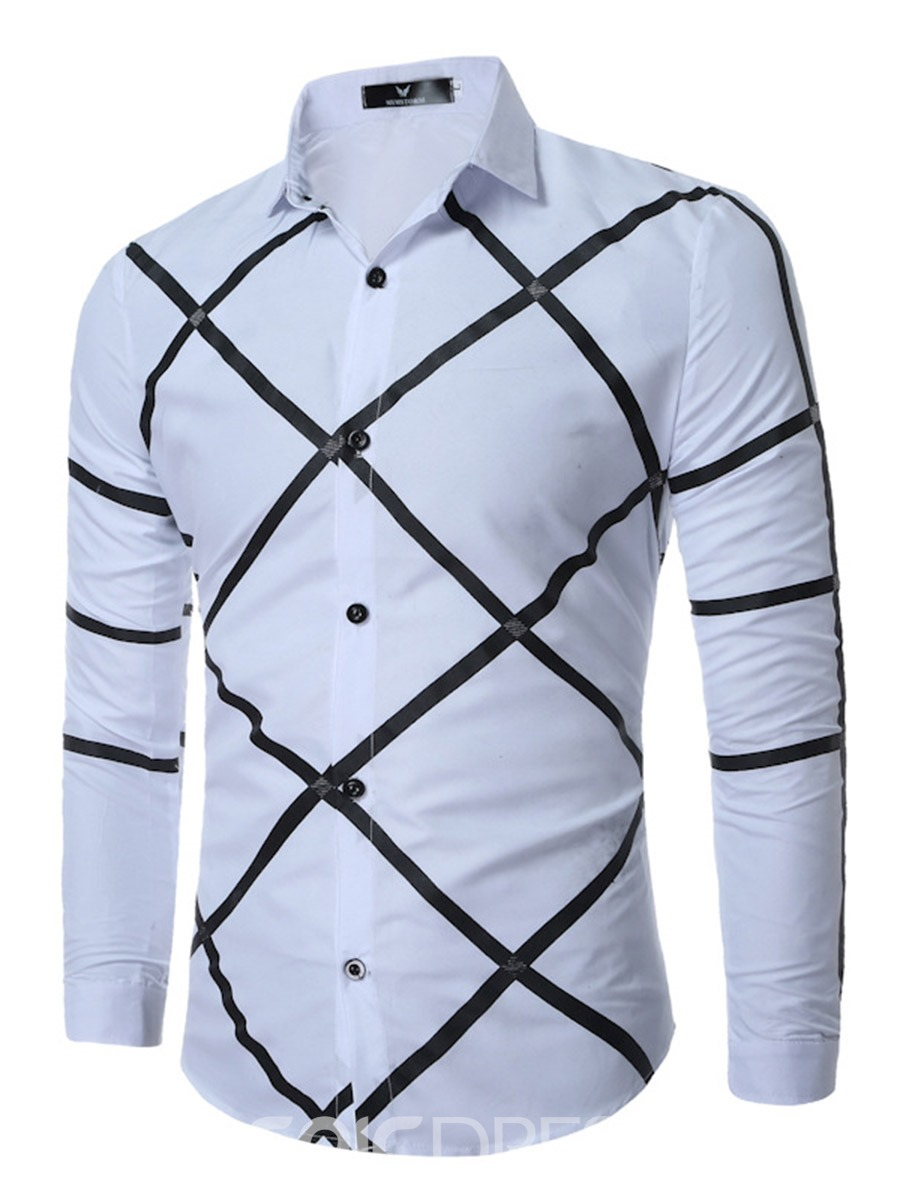 Ericdress Cross Diamond Pattern Casual Men's Shirt
