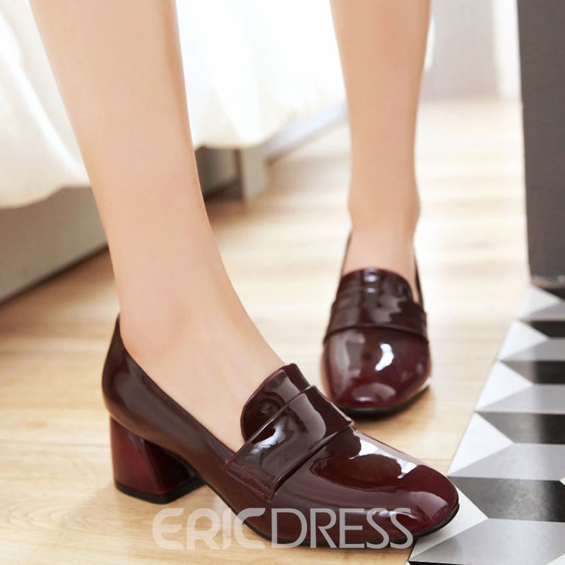 Ericdress Chic Patent Leather Block Heel Pumps