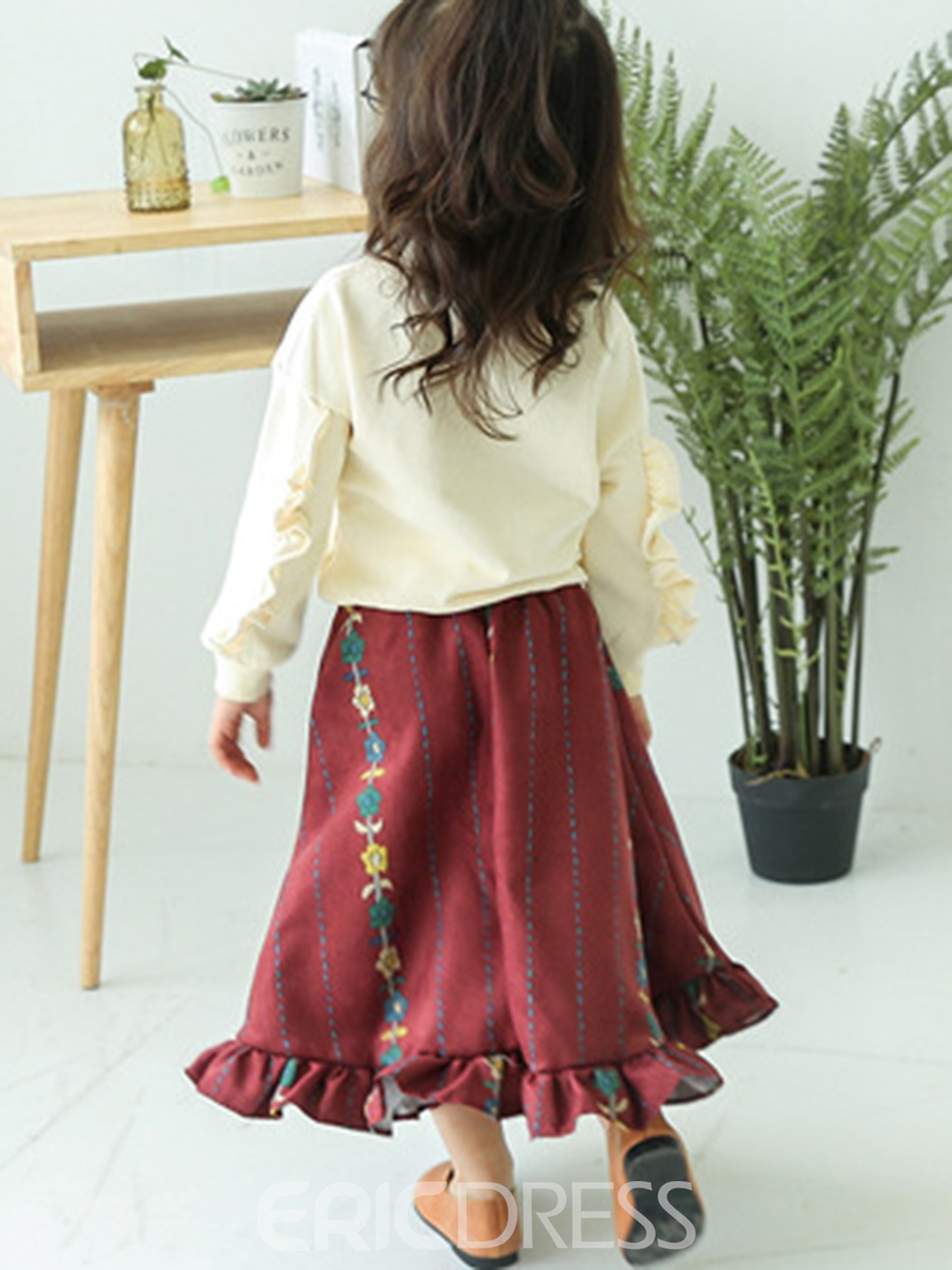 Ericdress Floral Hoodie Embroidery Falbala Skirt 2-Pcs Girls Outfit