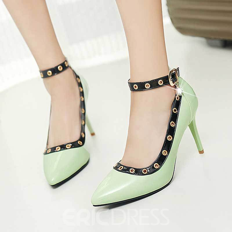 Ericdress Rivet Decorated Pointed Toe Stiletto Heel Women's Pumps