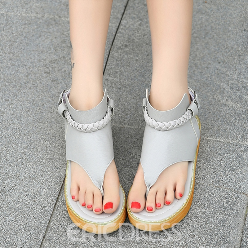 Ericdress PU Clip Toe Backless Flat Sandals