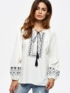 Ericdress Loose Lace-Up Lantern Sleeve Blouse