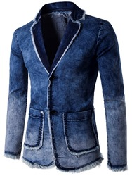 Ericdress Notched Lapel Single-Breasted Casual Mens Denim Blazer