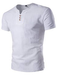 Ericdress Plain V-Neck Mens Straight T-shirt  - buy with discount