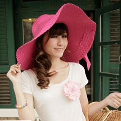 Ericdress Bowknot Beach Pure Color Sun Hat thumbnail