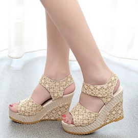 Ericdress Lace Open Toe Wedge Sandals