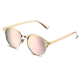 Ericdress Golden Half Frame Pink Resin Lenses Sunglasses