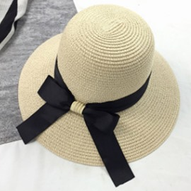 Ericdress Bowknot Decorated Dome Crown Beach Straw Hat