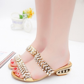 Ericdress Shining Rhinestone Square Heel Mules Shoes