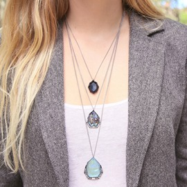 Ericdress Personality Multilayer Geometric Stone Pendant Necklace