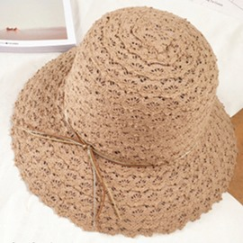 Ericdress Foldable Wide Brim Summer Beach Straw Hat