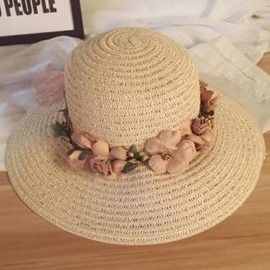 Ericdress Garland Embellished Wide Brim Sun Straw Hat