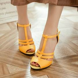 Ericdress Candy Color T Strap Peep Toe Stiletto Sandals