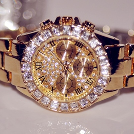 Luxueux doré brillant montre